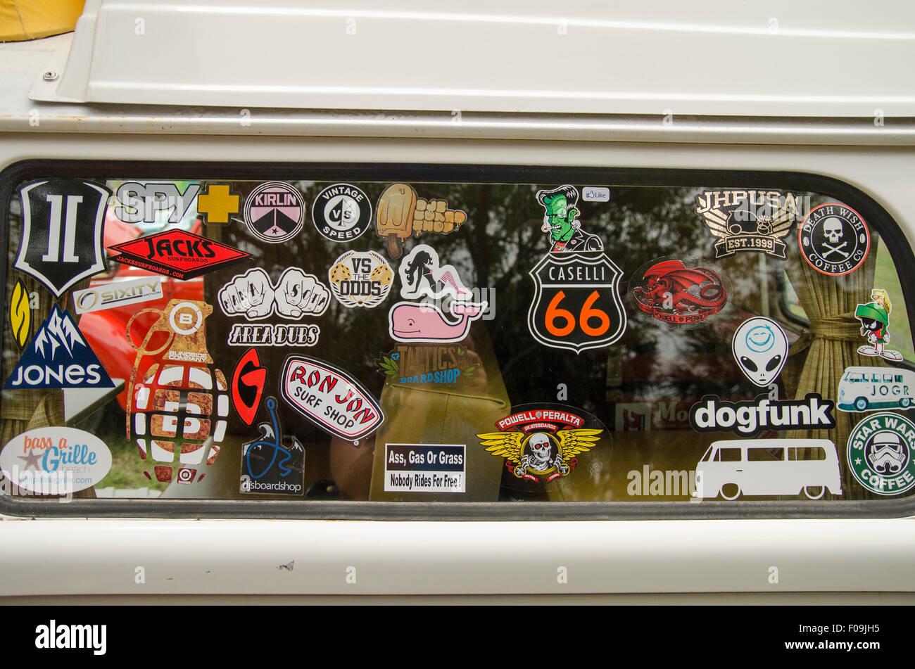 Sticker Covered Window Stock Photos Sticker Covered Window Stock - Car show stickers