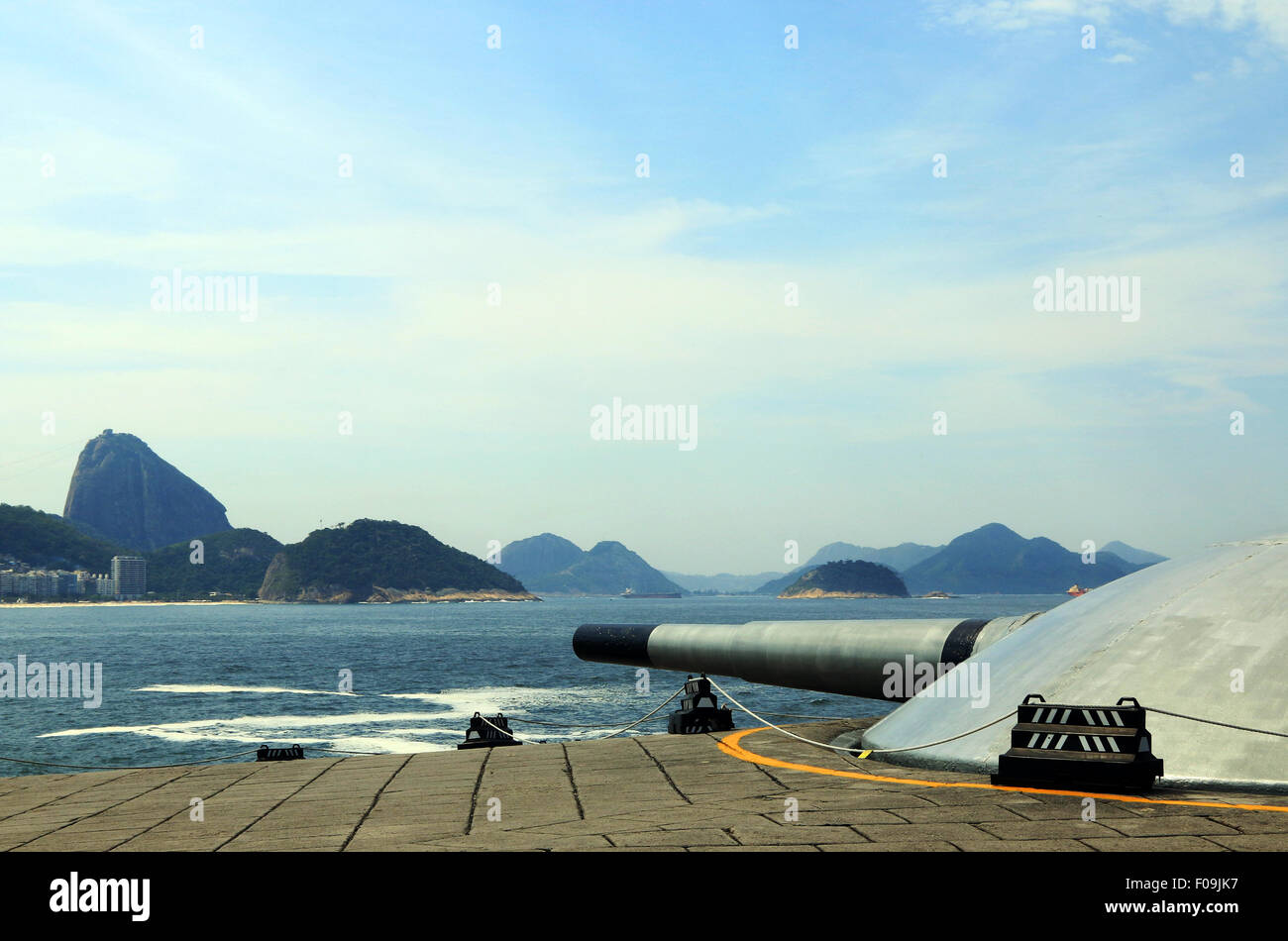 Big guns at Copacabana Fort - Stock Image