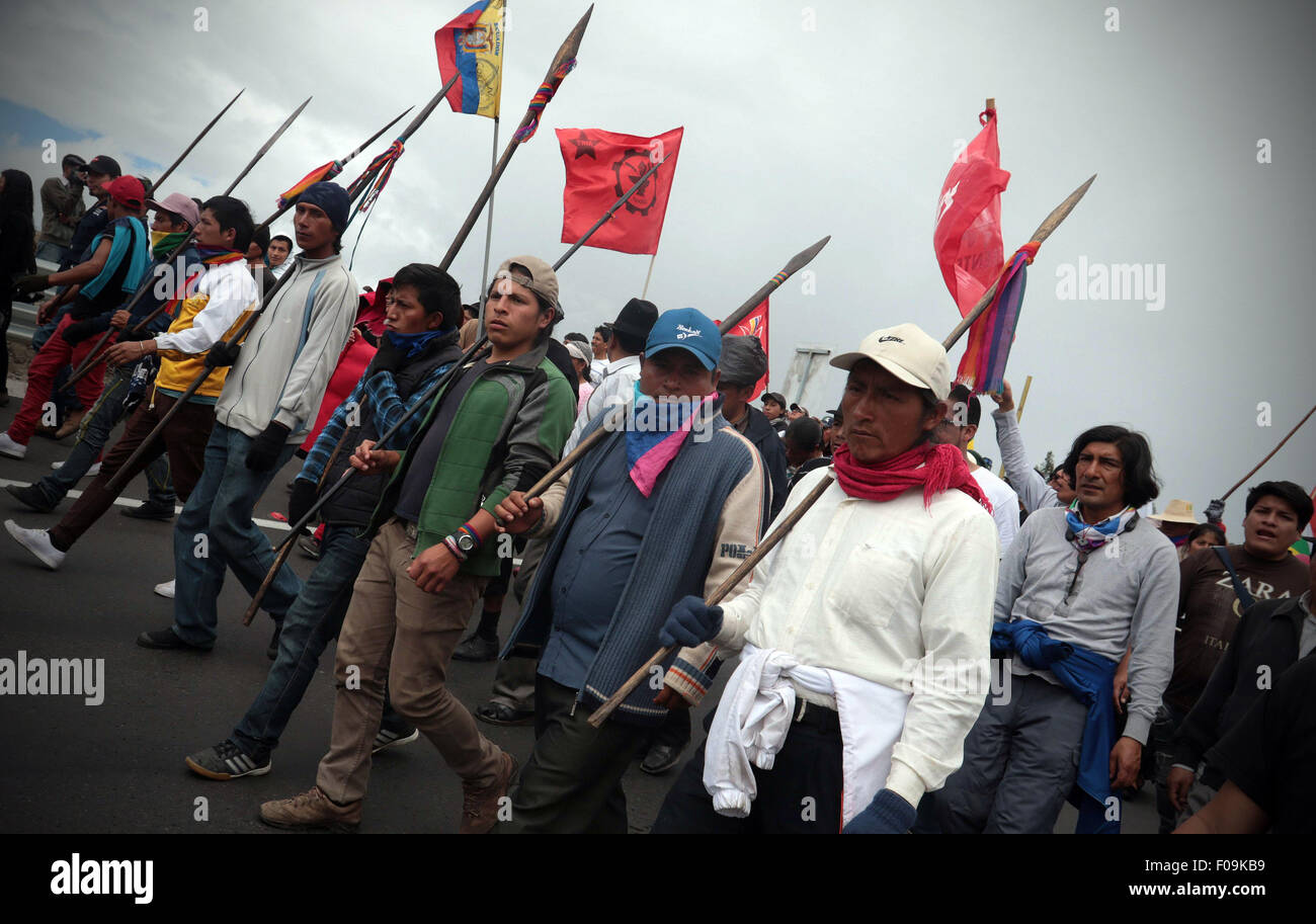 Salcedo, Ecuador. 10th Aug, 2015. Indigenous people take part in the 'March for the Dignity' in Salcedo, - Stock Image