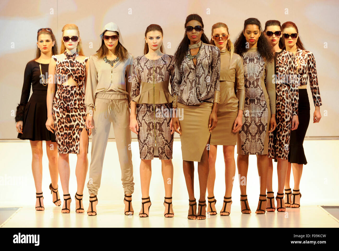 Fashion models on the Moda Spring Summer 2016 Fashion Catwalk. Moda, one of the country's premier trade fashion - Stock Image