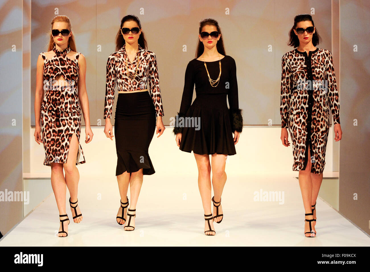 Fashion show models on the Moda Spring Summer 2016 Fashion Catwalk. Moda, one of the country's premier trade - Stock Image