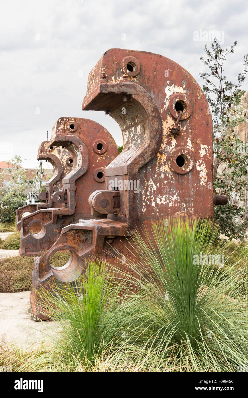 Disused beam benders at Cockatoo Island shipyard in Parramatta River, Sydney Harbour, NSW, Australia - Stock Image