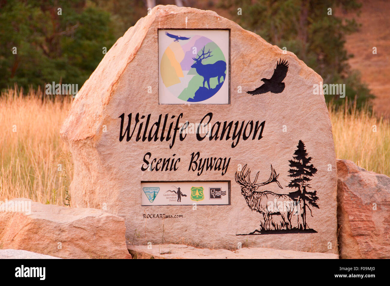 Byway sign, Wildlife Canyon Scenic Byway, Boise National Forest, Idaho Stock Photo