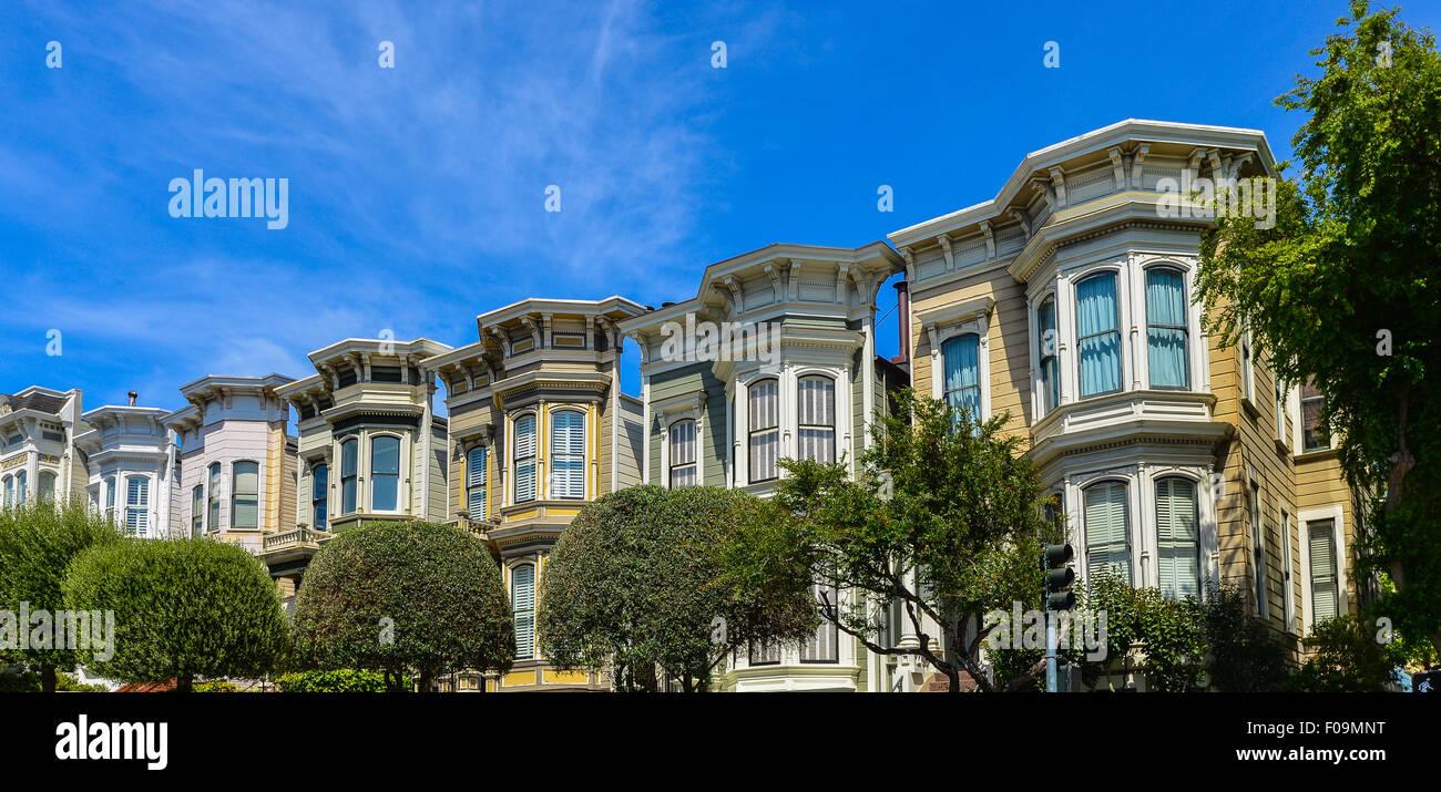 Italianate Style Victorian Homes, San Francisco, California - Stock Image