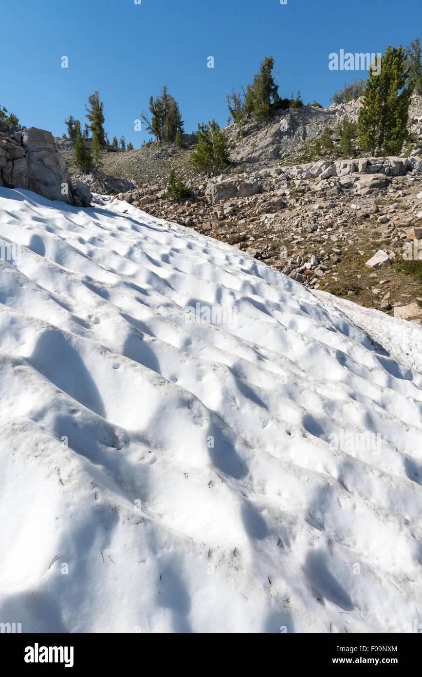 Suncupped snowfield, Wallowa Mountains, Oregon. - Stock Image
