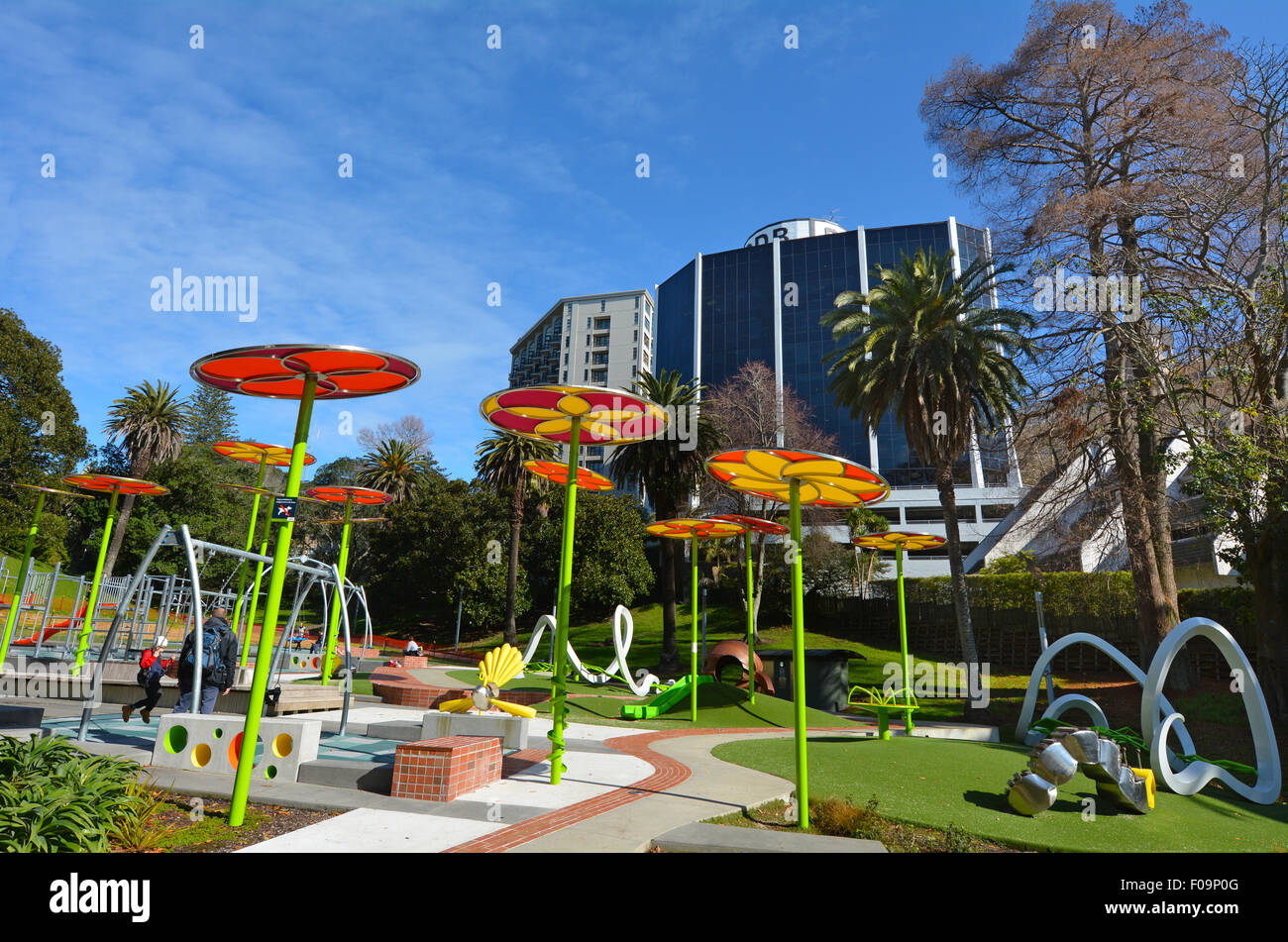 AUCKLAND,  NZL - AUG 01 2015:The new Myers Park Playground.Myers Park developed in 1913 and for it's 100-year - Stock Image