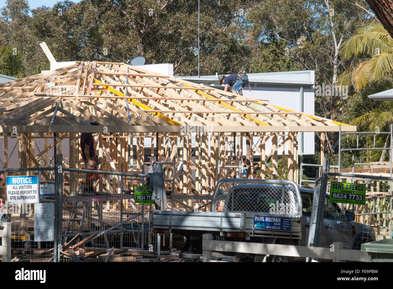 carpenter on residential house construction in north Sydney