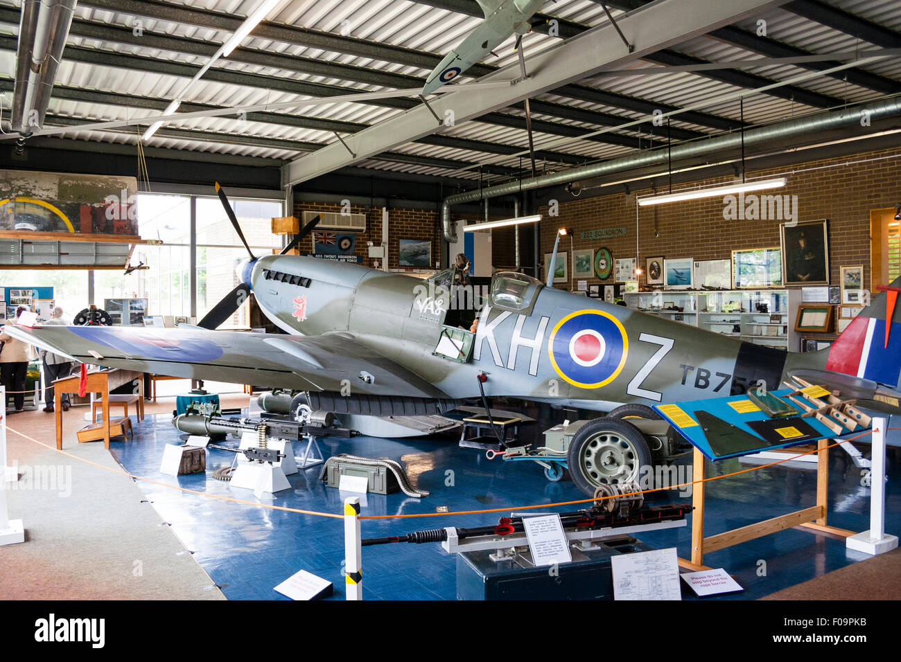 England, Ramsgate. RAF Manston Spitfire and Hurricane Memorial museum. Interior. Spitfire displayed with various - Stock Image