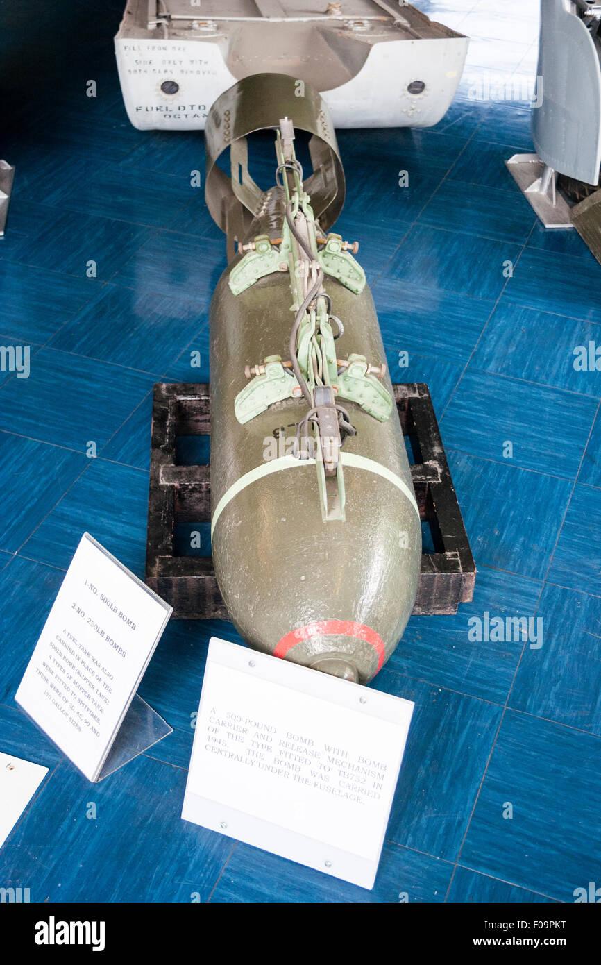 RAF Manston Spitfire museum, 500lb bomb - Stock Image