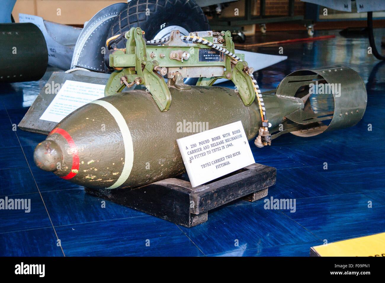 England, RAF Manston Battle of Britain memorial museum. 250 lb bomb. - Stock Image