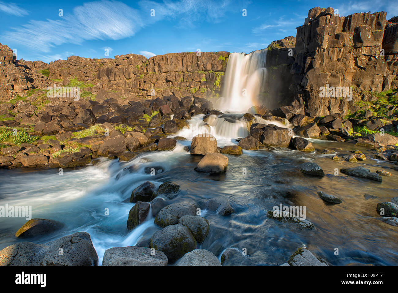 Oxararfoss Waterfall, Iceland - Stock Image