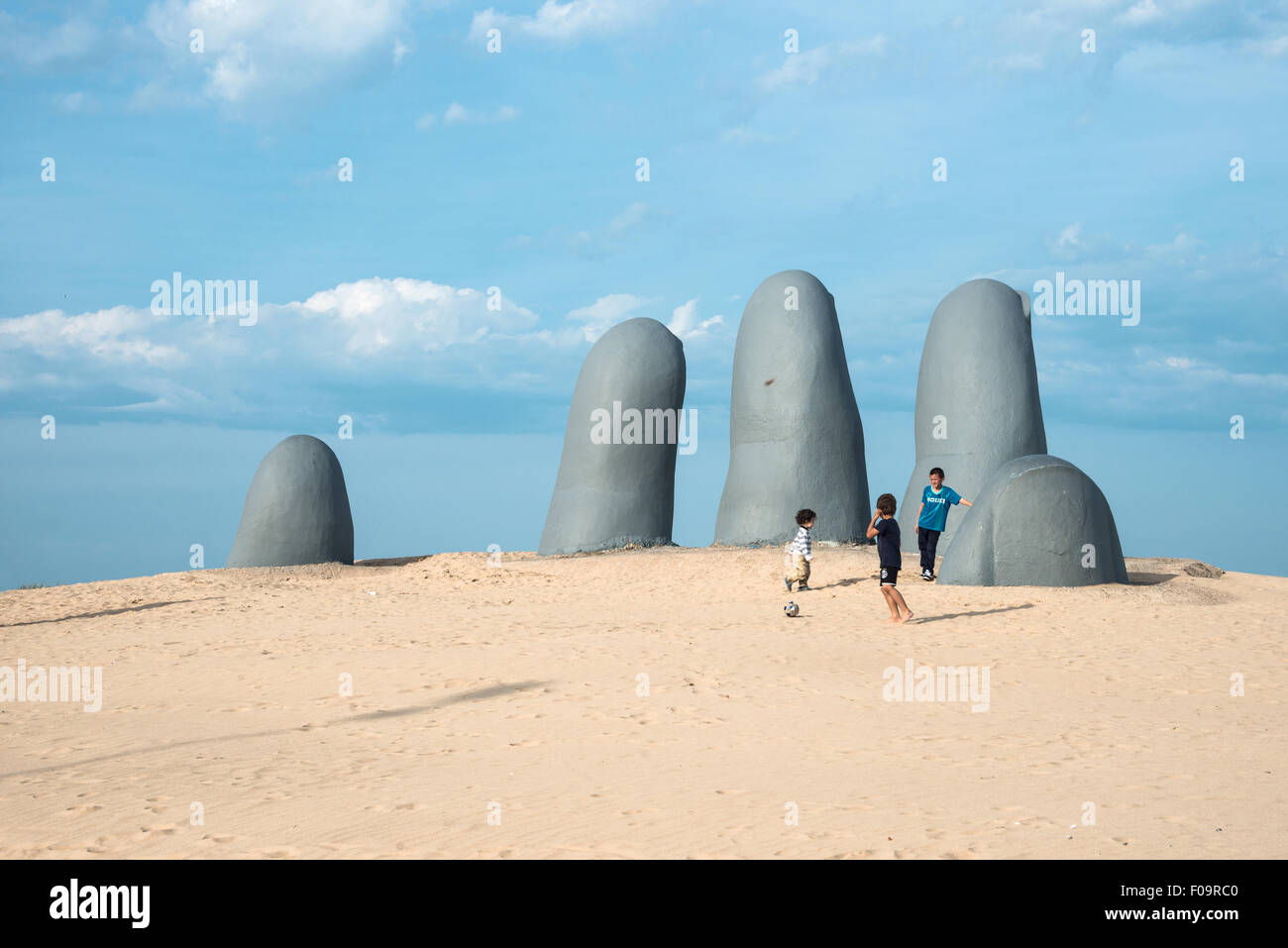 Hand Sculpture, the symbol of Punta del Este, Uruguay - Stock Image