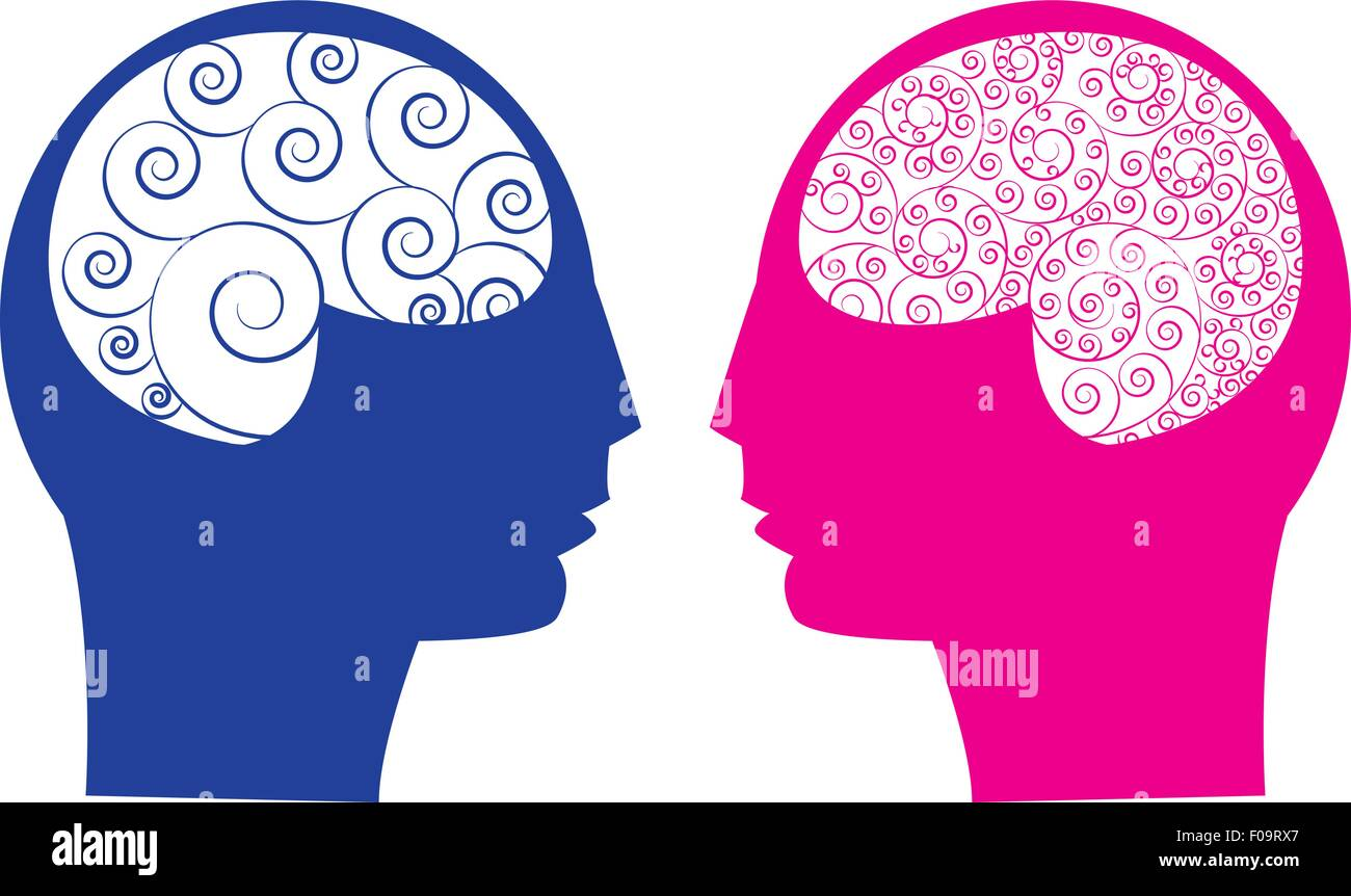 Abstract male vs female brain - Stock Vector