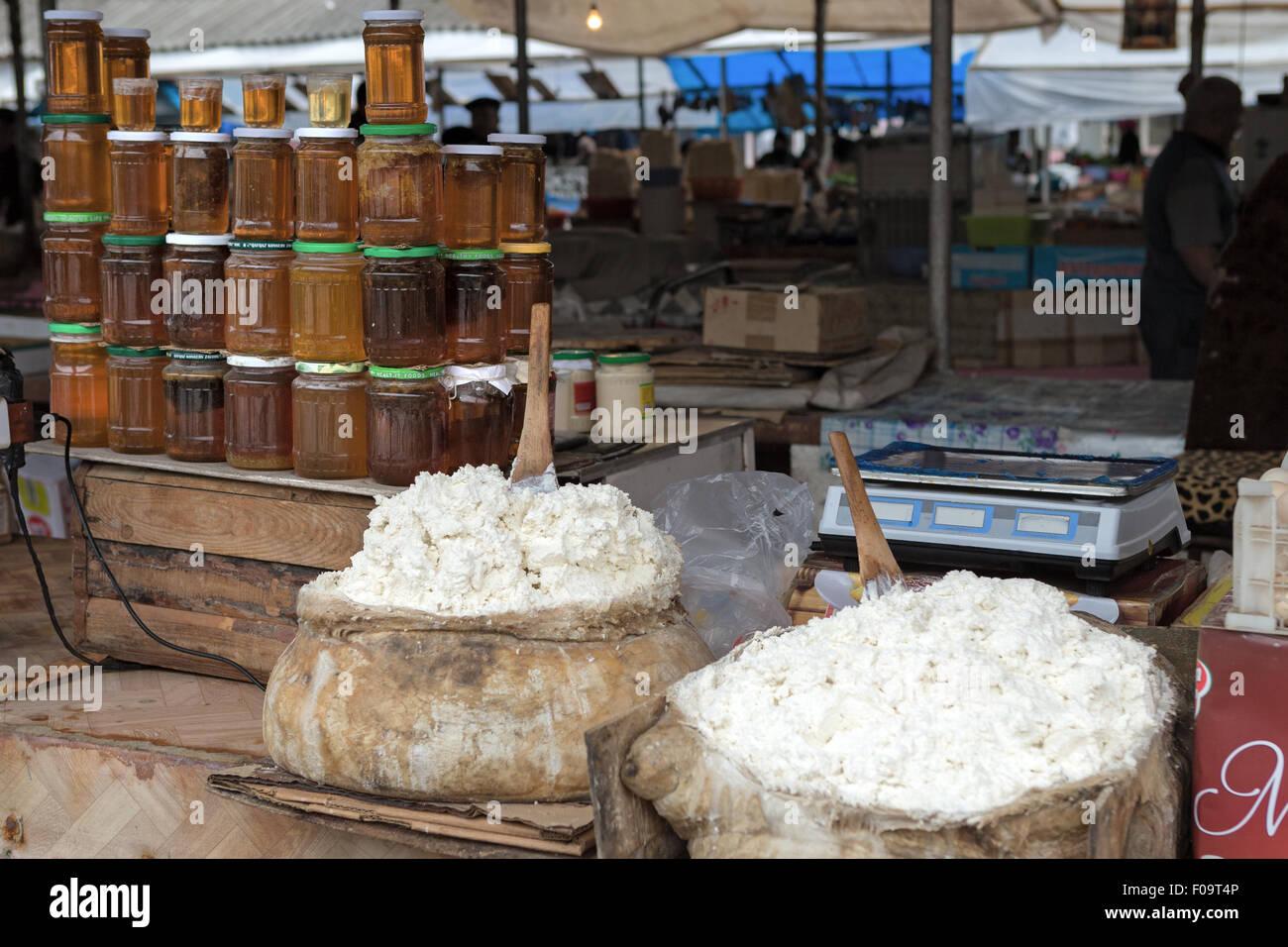Dairy produce Local market Quba Azerbaijan - Stock Image