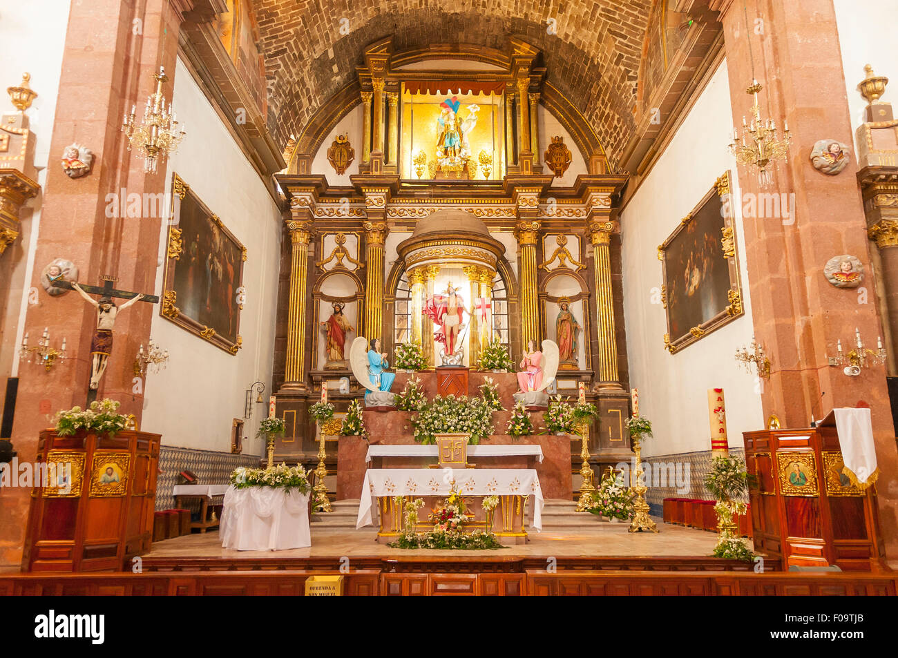 The Altar, Parroquia de San Miguel Arcangel, San Miguel de Allende, Mexico Stock Photo