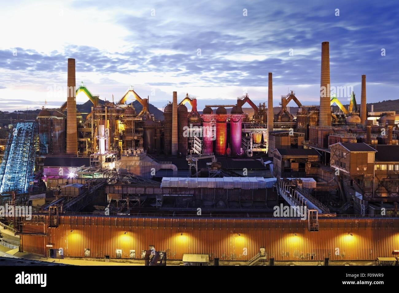 View of industry at Volklingen, Saarbrucken, Saarland, Germany Stock Photo