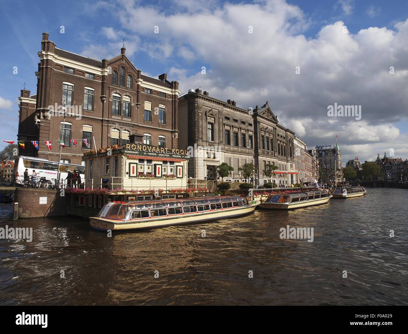 View of ferryboats at canal in Rokin, Amsterdam, Netherlands - Stock Image