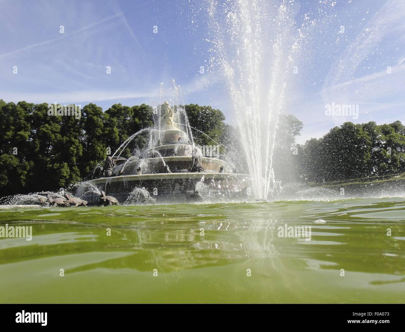 Water fountain in Herrenchiemsee, Chiemgau, Bavaria, Germany - Stock Image