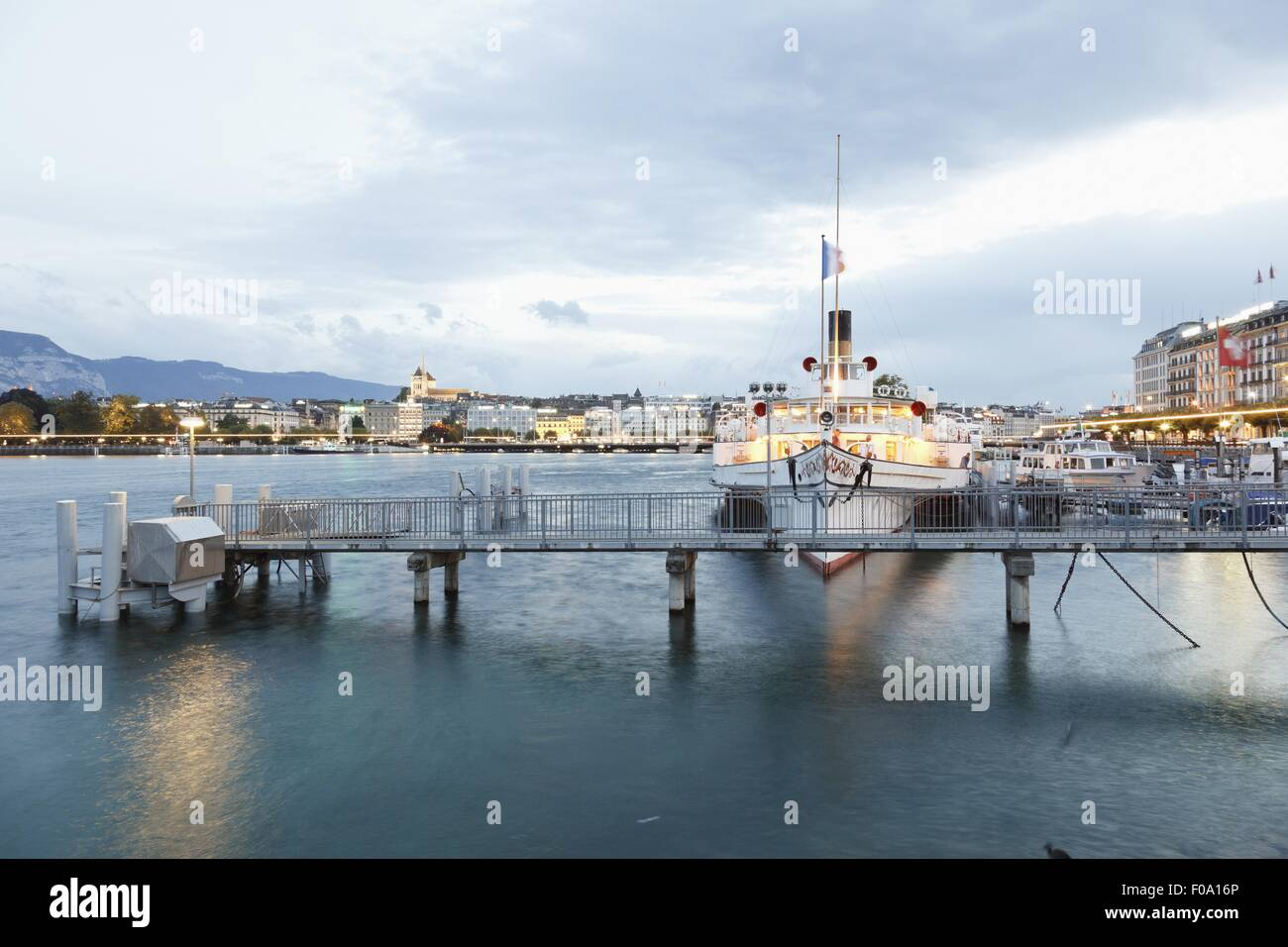 Port with sail boat, on Lake Geneva, Switzerland - Stock Image
