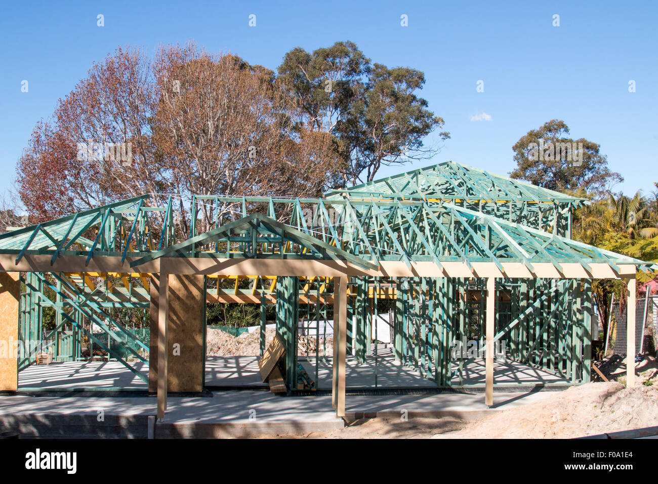 house of timber frame under construction in Sydney,new south wales,australia Stock Photo