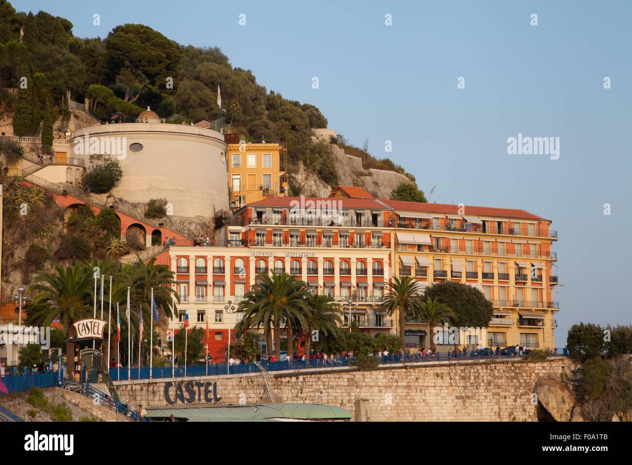 Hotel Suisse, Quai Rauba Capeu, Promenade Des Anglais, Nice, Alpes-Maritim, France. Stock Photo