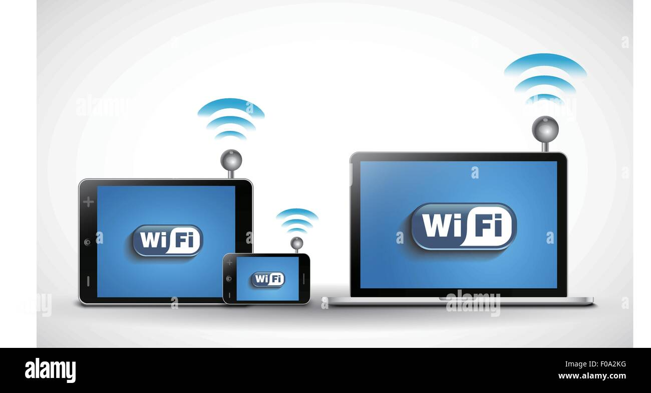 Electronic device and wifi - Stock Image