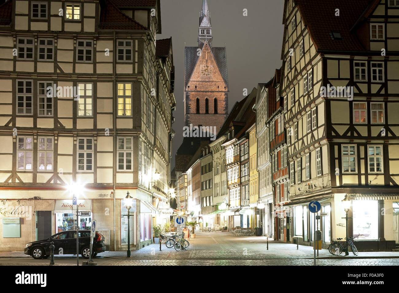 View of market church, half-timbered houses on Kramer Street, Hanover, Germany - Stock Image