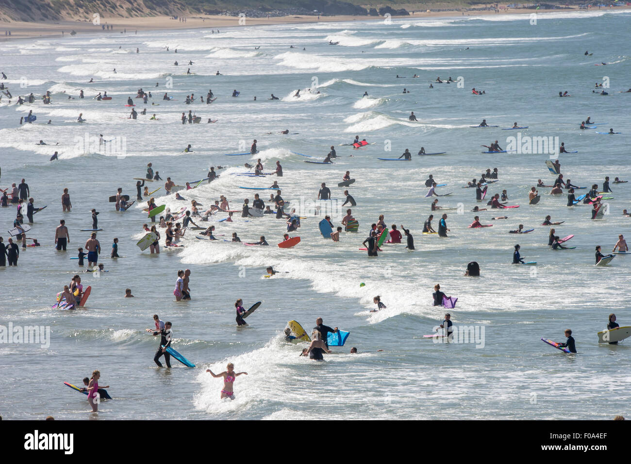 Busy Woolacombe beach in Devon UK in the summer, voted best UK beach on TripAdvisor 2016 - Stock Image