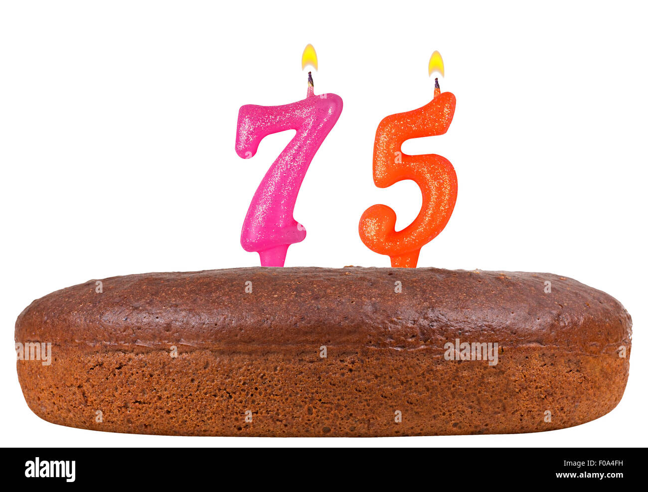 Birthday Cake With Candles Number 75 Isolated On White Background