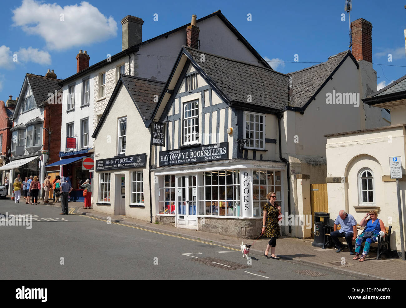 High Town street in the booktown of Hay-on-Wye Brecknockshire Powys Wales - Stock Image