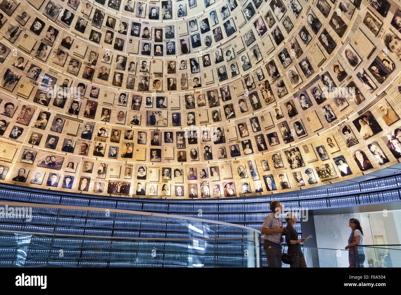 Low angle view of people at Hall of Names in Yad Vashem Memorial, Jerusalem, Israel - Stock Image