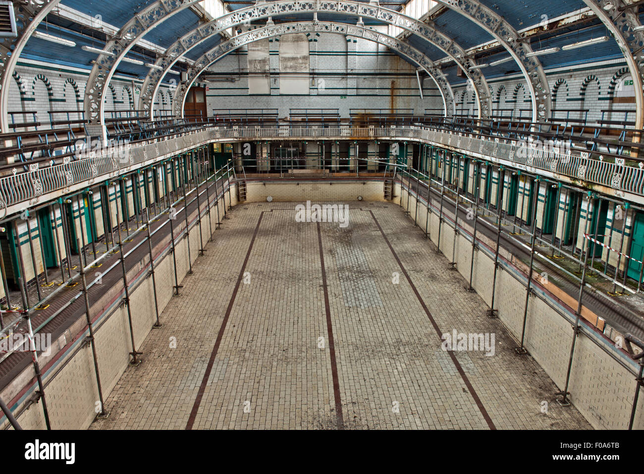 The closed main pool in  Moseley Road Swimming Baths, Balsall Heath, Birmingham, UK Stock Photo