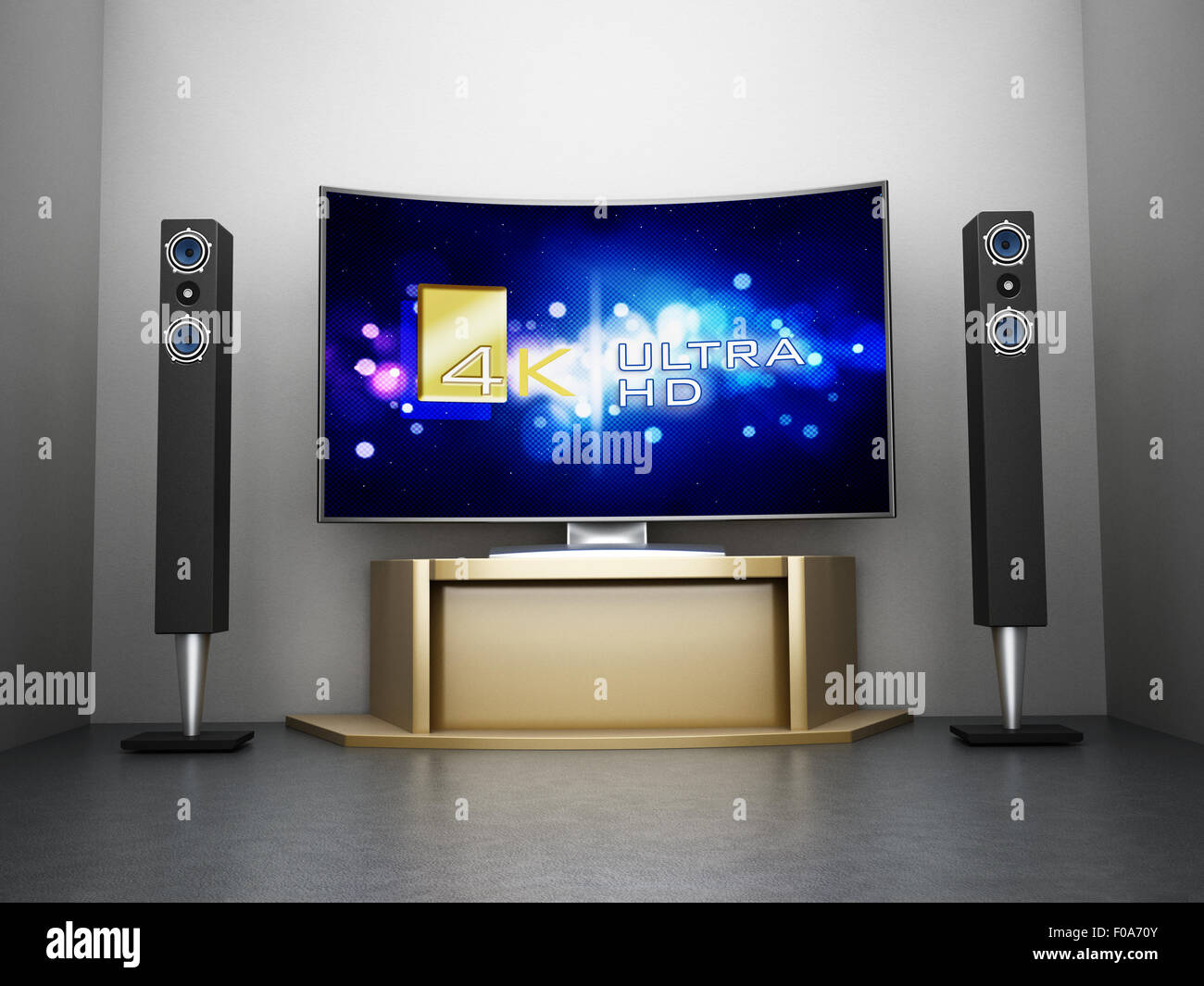 Ultra HD Curved TV with home theater system in the room - Stock Image