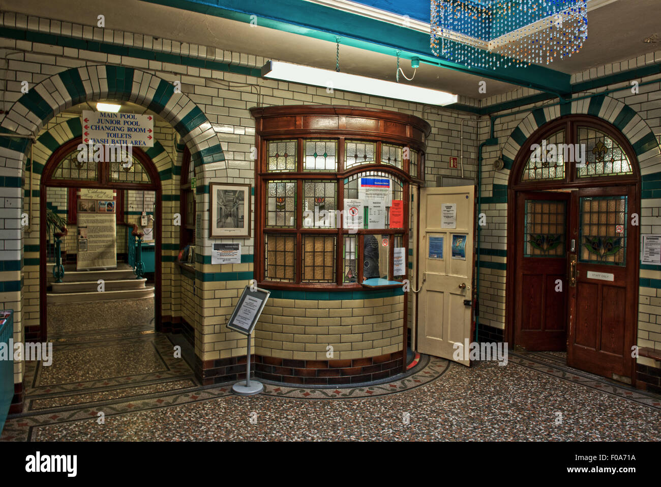 The main foyer and admission in Moseley Road Swimming Baths, Balsall Heath, Birmingham, UK - Stock Image