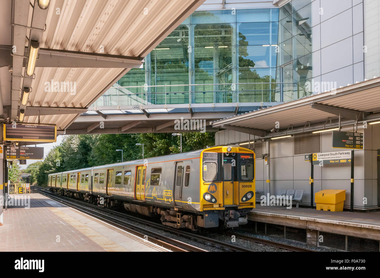 Merseyrail electric train South Parkway station. Liverpool - Stock Image