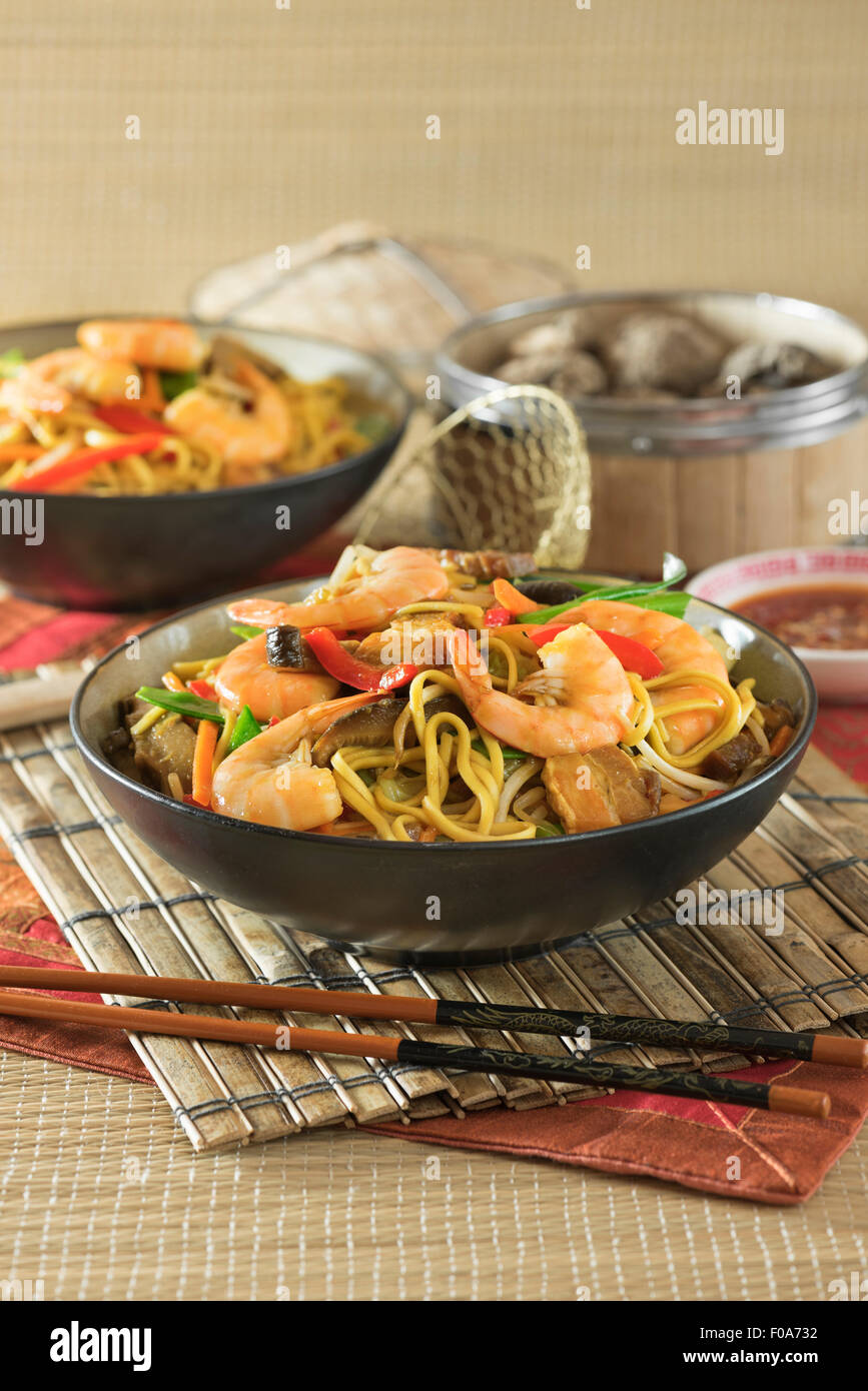 King prawn chow mein. Shrimp fried noodles. Chinese food - Stock Image