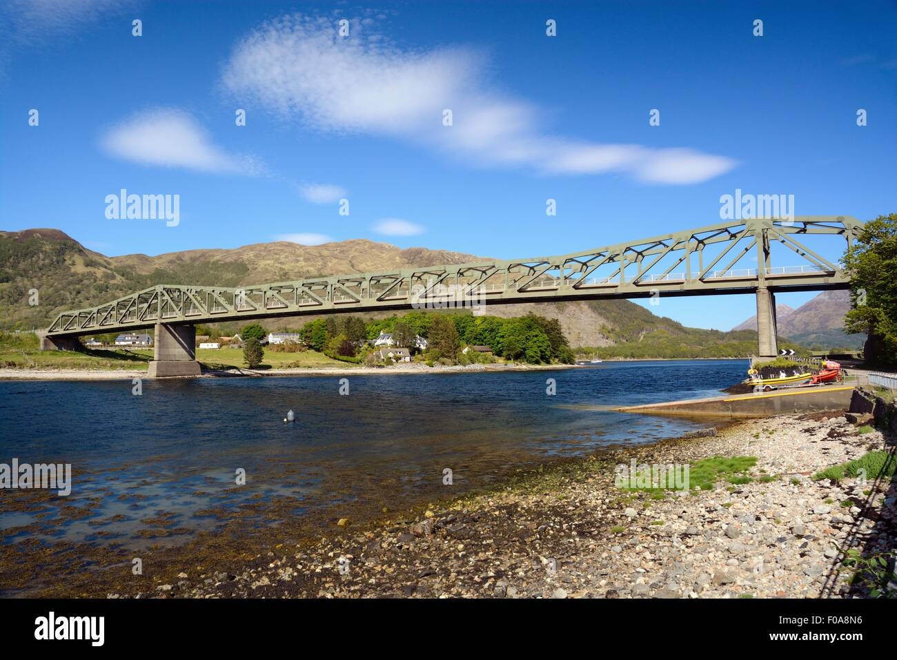 The road to Fort William. A steel girder bridge crosses the entrance to Loch Leven at North Ballachulish in West - Stock Image
