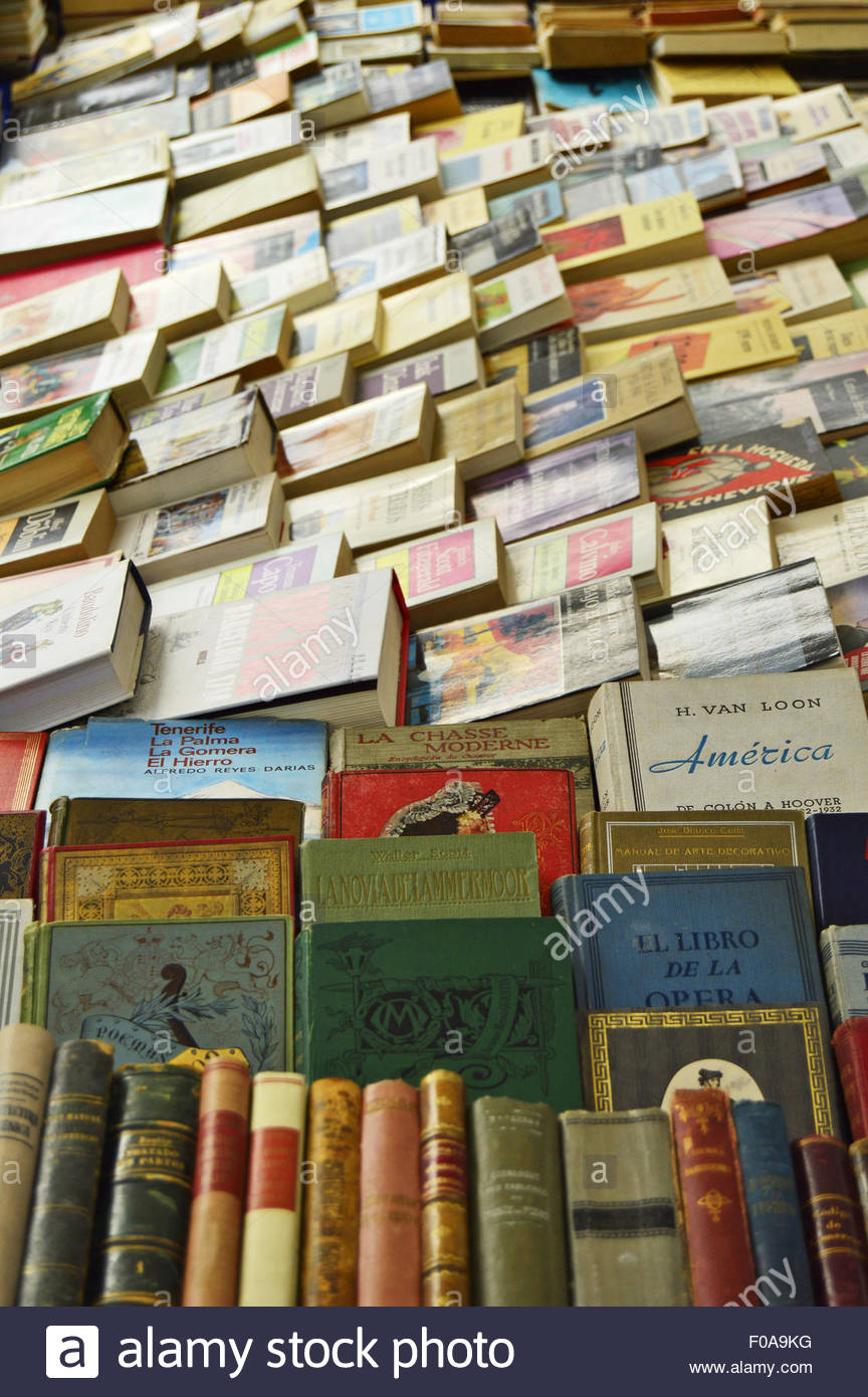 Used secondhand books displayed at flea market in Barcelona Catalonia Spain Europe. - Stock Image