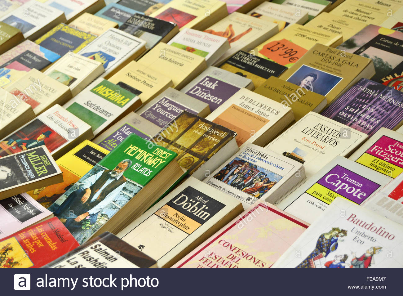 Used secondhand books displayed at flea market in Barcelona Spain Europe. - Stock Image