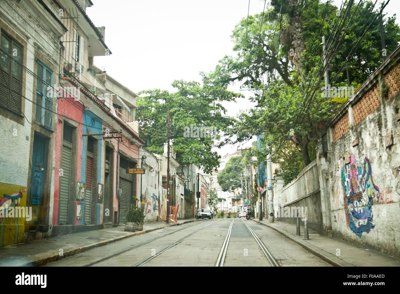 Empty, urban street with tram rails, Rio de Janeiro, Brazil Stock Photo
