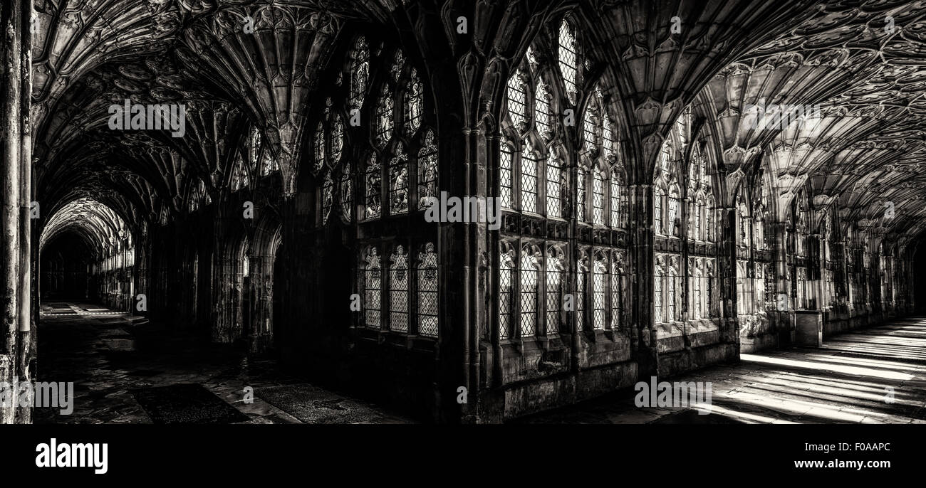 Here we have various pictures of Gloucester Cathedral  including the beautiful stained glass windows . - Stock Image