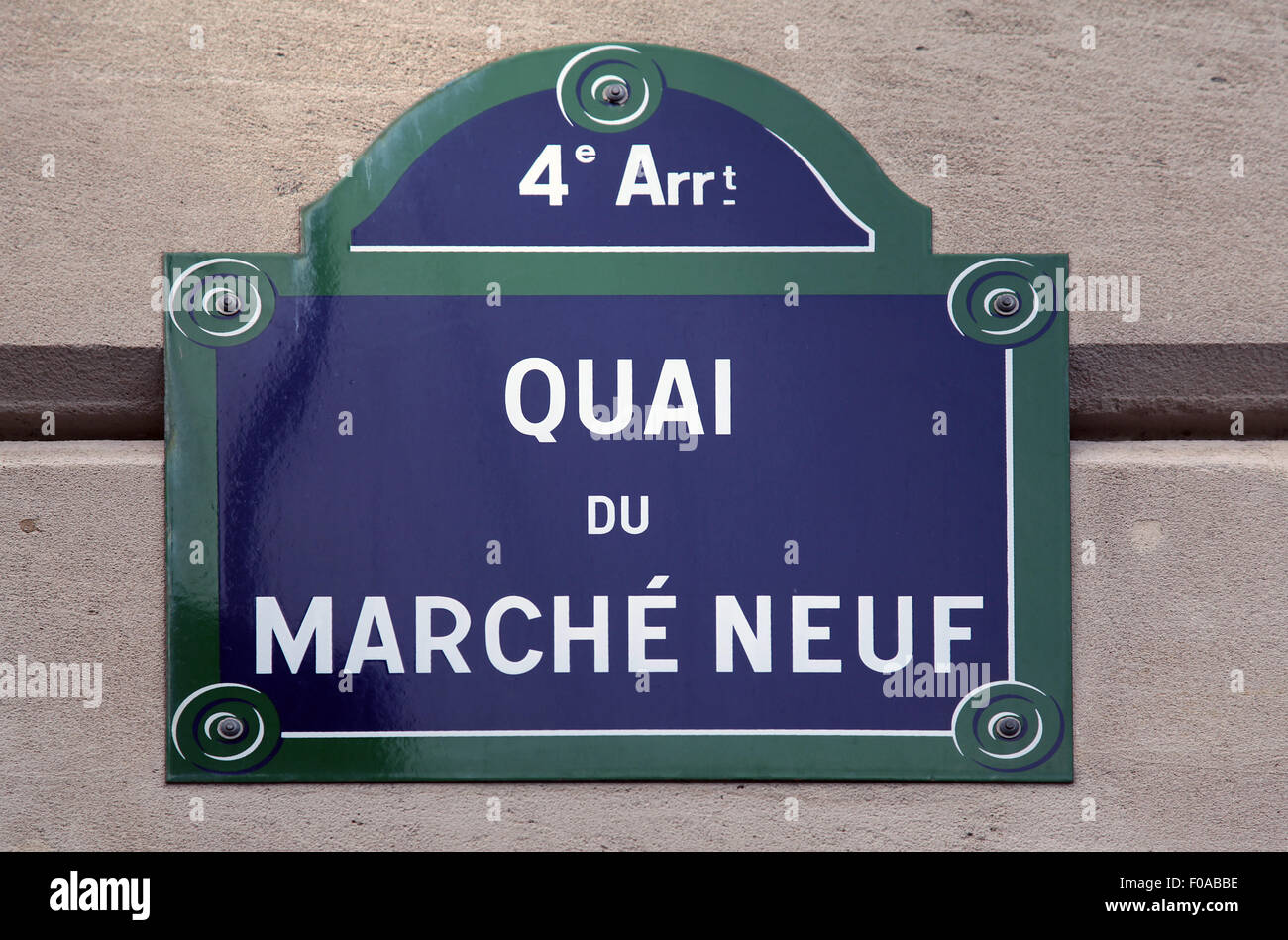 Street sign Quai du marché Neuf in Paris France - Stock Image