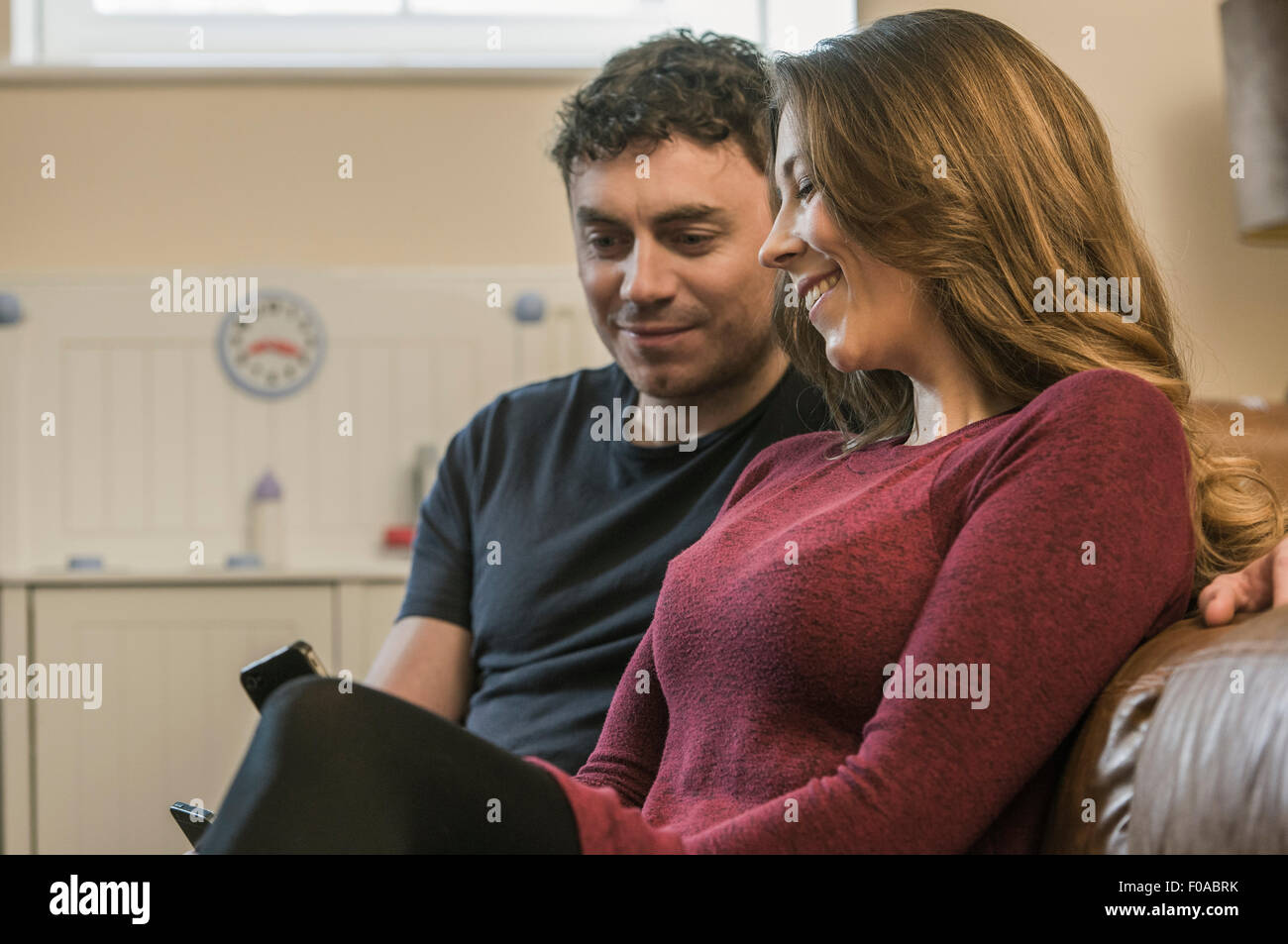 Couple using smartphone Stock Photo
