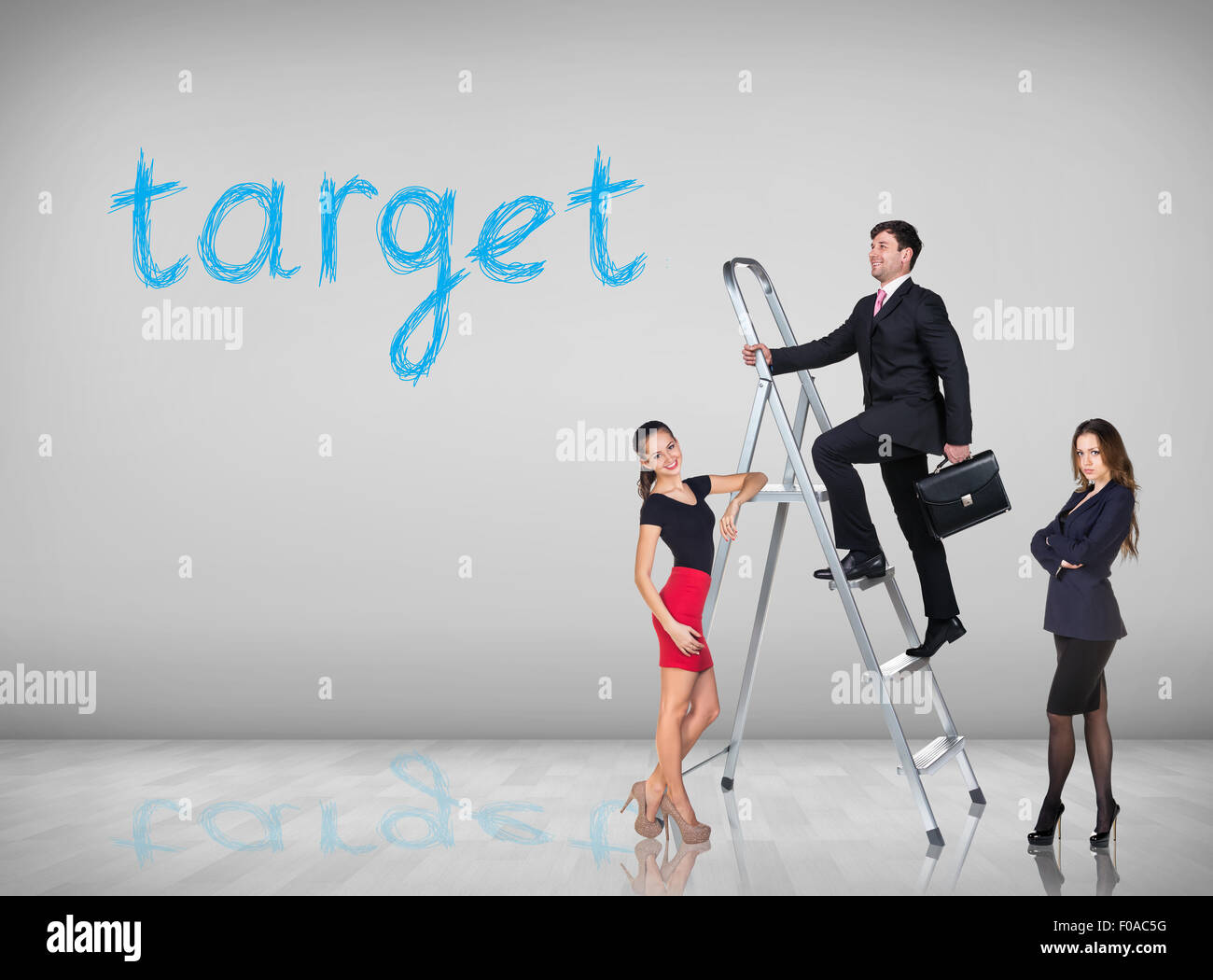 Businessman With Woman Assistant Climbing A Ladder With Motivation