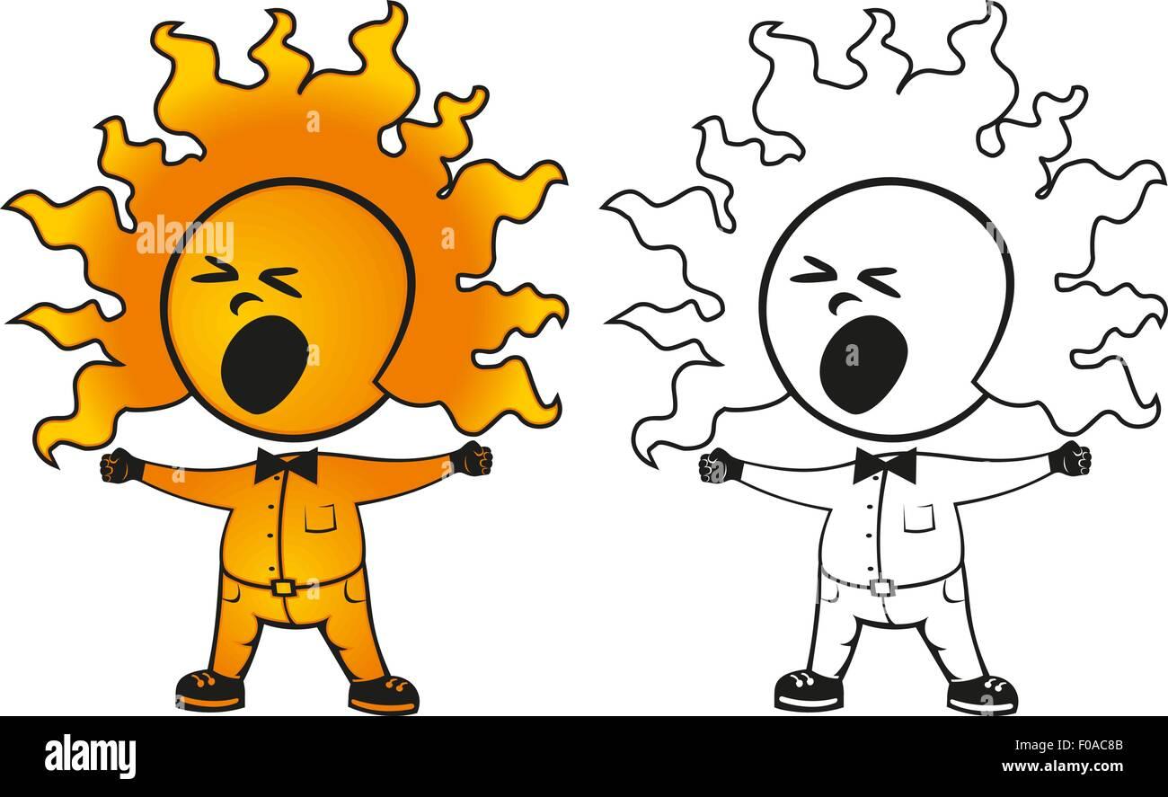 sunny man yawns - Stock Vector