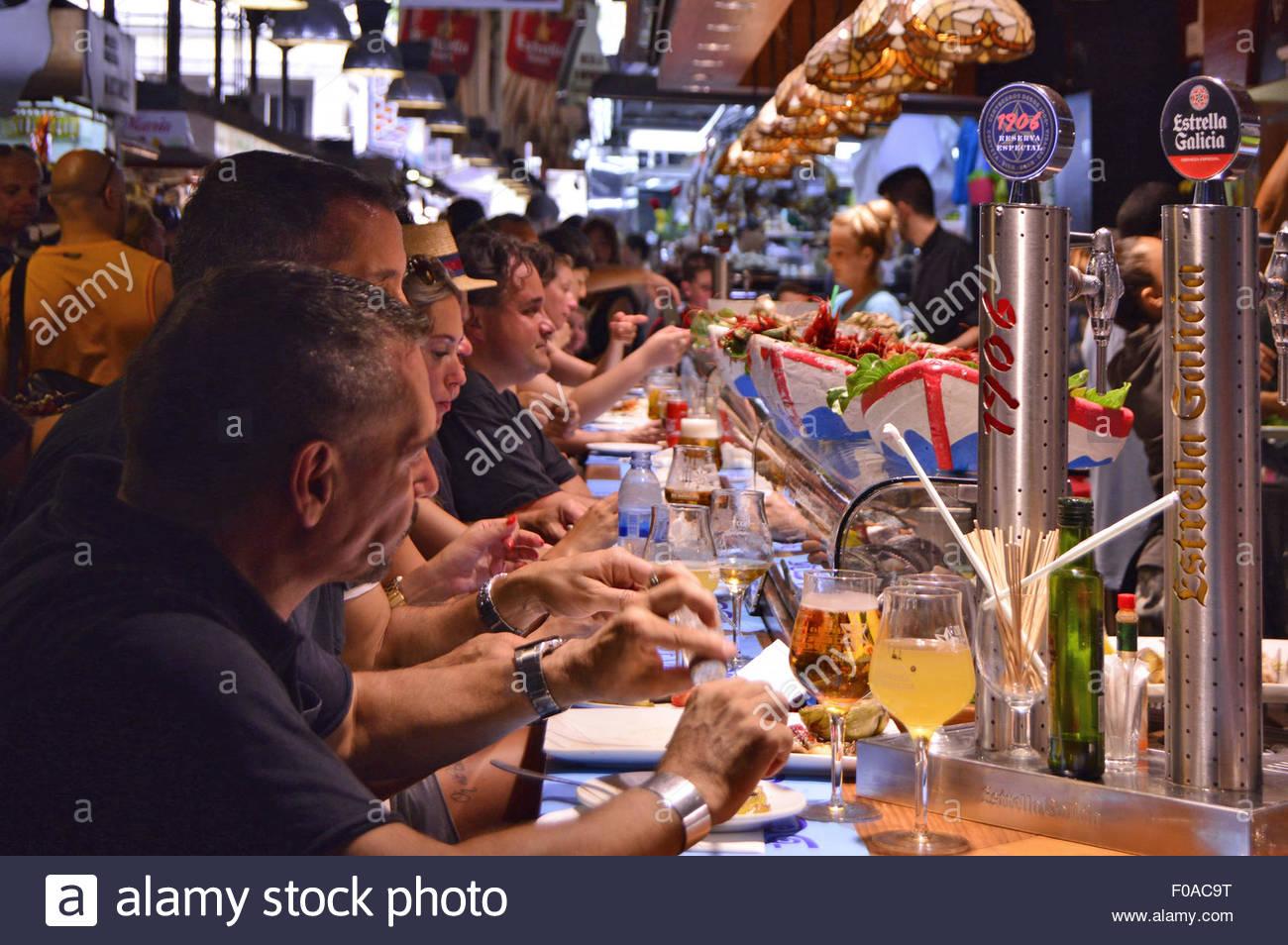 Bar Central at La Boqueria market in Ciutat Vella Barcelona Spain Europe - Stock Image