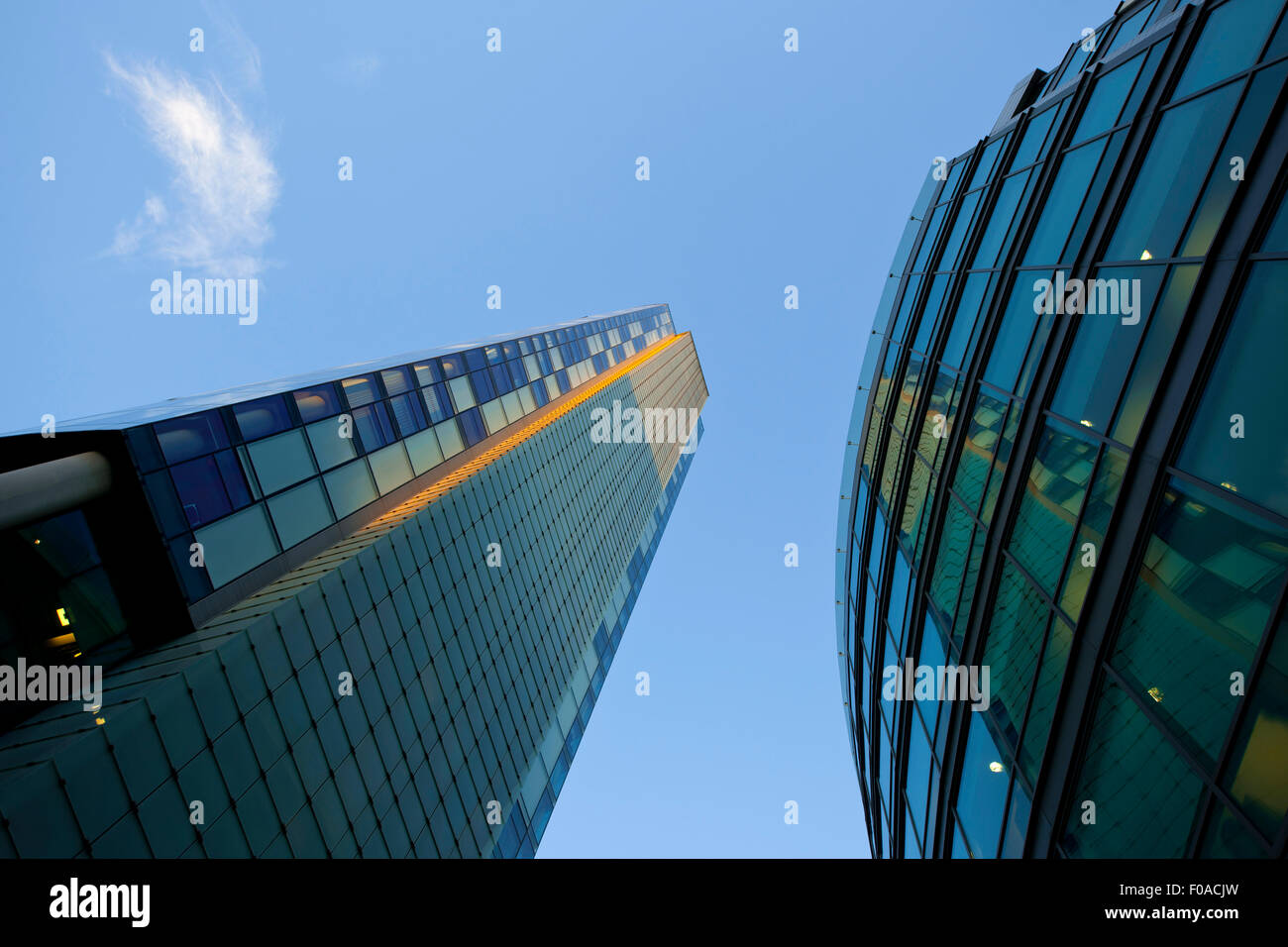 Modern office buildings, low angle view, Liverpool, UK - Stock Image