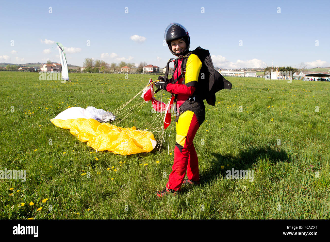 Happy skydiver after jump - Stock Image