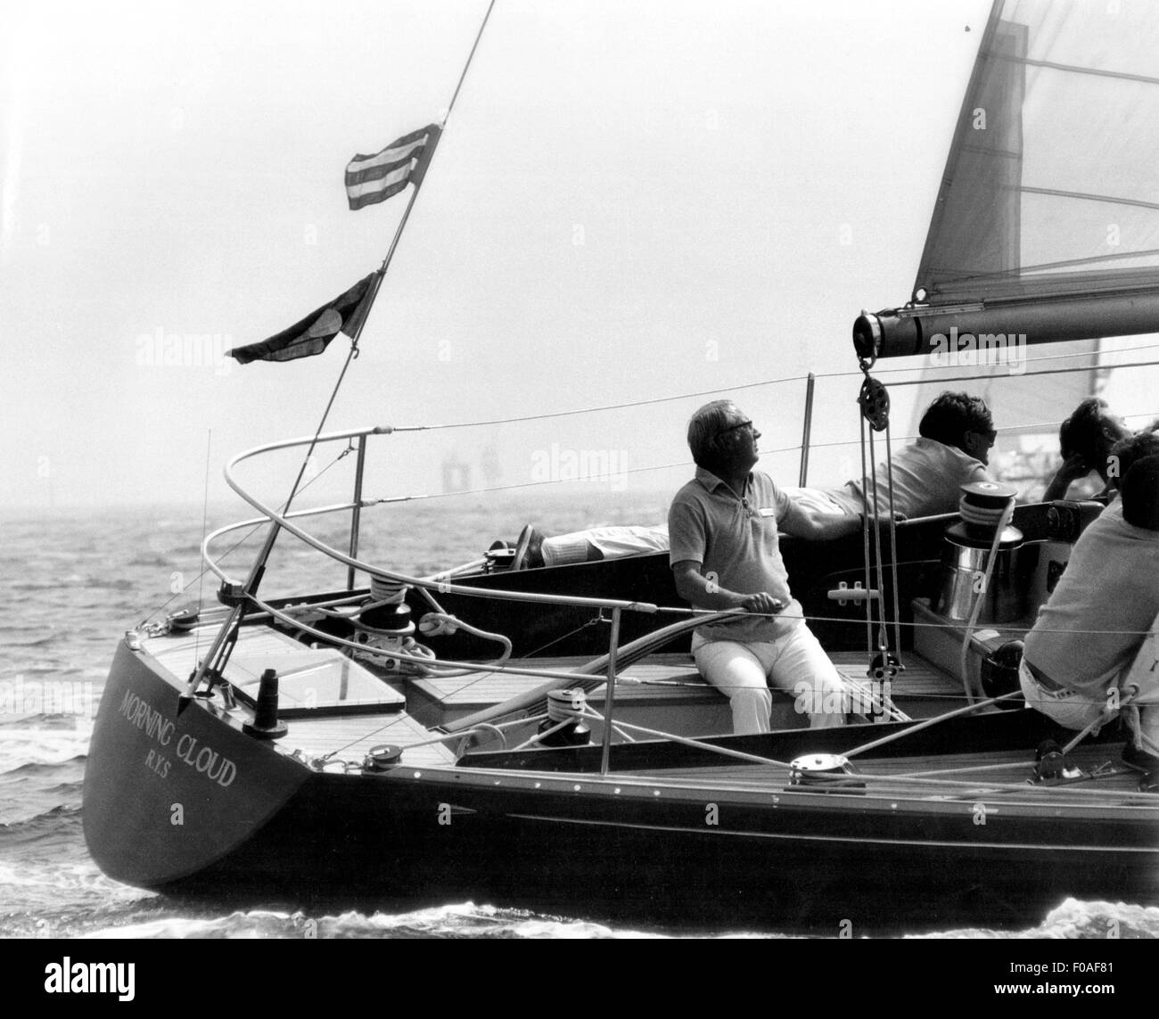 AJAXNETPHOTO - 1971. SOUTHSEA, ENGLAND. - CHANNEL RACE - TED HEATH AT THE HELM OF HIS YACHT MORNING CLOUD II AT - Stock Image