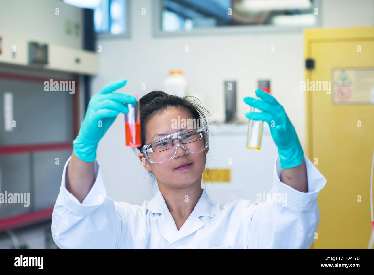 Young female scientist comparing two samples in lab - Stock Image